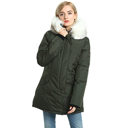 PUREMSX Women's Winter Jacket, Thick Snow Cold Weather Windproof Faux Fur Polyester Ski Anorak,Army Green by PUREMSX