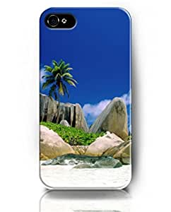 UKASE Mobil Phone Case for iPhone 5 5s with Amazing Designed Pattern of Palm Tree and Stones