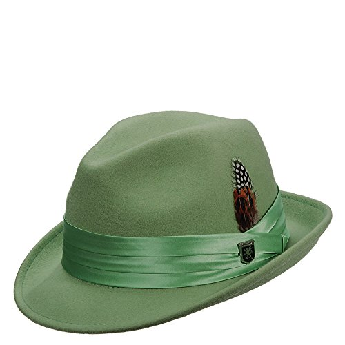 Stacy Adams Men's Crushable Wool Felt Snap Brim Fedora (Green, Large) (Classy Outfits For Men)