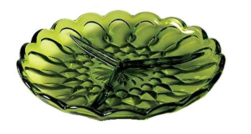 Anchor Hocking Fairfield Avocado Green Glass ( 3-Part Relish Dish ) ()