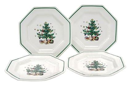 Amazon.com | Nikko Ceramics Christmastime Salad/Dessert Plates, Set ...