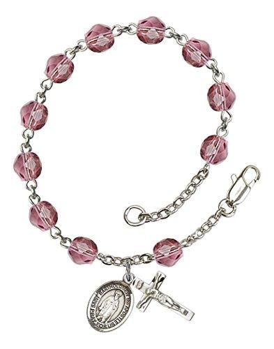 (February Birth Month Bead Rosary Bracelet with Saint Bartholomew the Apostle Petite Charm, 7 1/2 Inch)