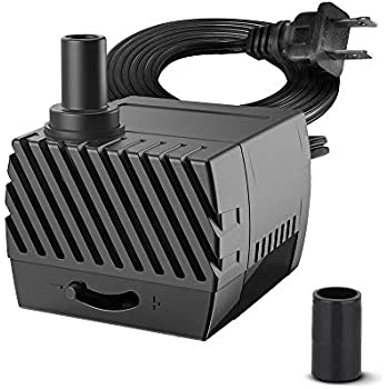 KEDSUM 80GPH Submersible Pump(300L/H,4W), Ultra Quiet Water Pump with 2.6ft High Lift, Fountain Pump with 5.9ft Power Cord, 2 Nozzles for Fish Tank, Pond, Aquarium, Statuary, Hydroponics
