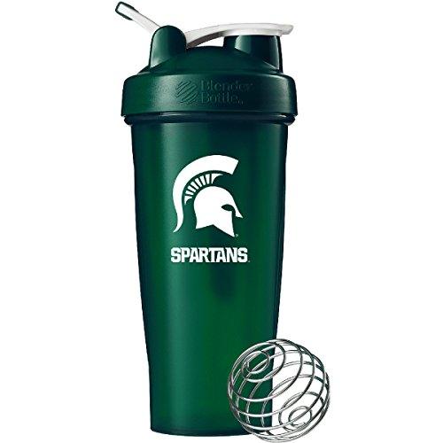 BlenderBottle Collegiate Classic 28-Ounce Shaker Bottle, Michigan State University Spartans - Green/Green - Michigan State University Seal