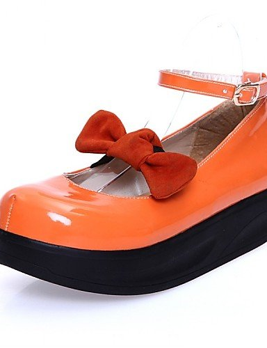 PDX/ Damenschuhe - Ballerinas - Kleid / Lässig - Lackleder - Plateau - Plateau / Komfort - Schwarz / Orange / Mandelfarben , orange-us5 / eu35 / uk3 / cn34 , orange-us5 / eu35 / uk3 / cn34