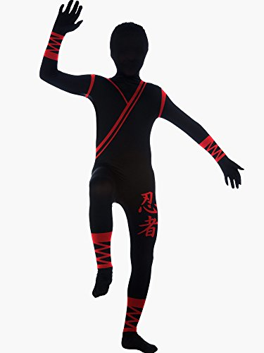 Ninja Costume Mens (Rubie's Costume Adult Ninja 2nd Skin Zentai Super Suit, Black/Red, Medium Costume)