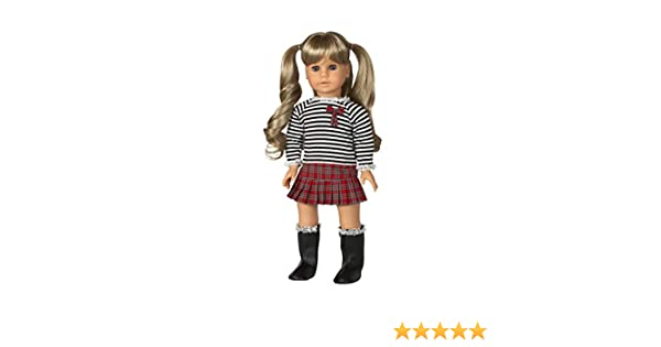 0ec0cbd1df37 Amazon.com: Diana Collection Plaid Mini Skirt and Stripe Top. COMPLETE  Outfit with Boots. Fits 18