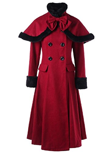 Pivaconis Women Retrol Removable Fluffy Collar Flare Hem Duffle Coat Wine Red XL -