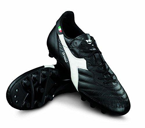 Diadora Brasil Italy OG MDPU Chaussures de Football en cuir Fabriqué à la main Noir/blanc