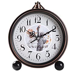 Vintage Silent Desk Alarm Clock Non Ticking Quartz Movement Battery Operated , HD Glass Lens, Easy to Read (7)
