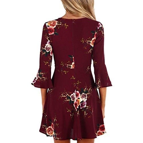 Mi Chic Rouge Femme Hiver Top 4 Printemps Femme Manche 3 Long Automne Tunique Col Sexy Longue Haut Blouse V Casuel Robe Mini Robe EttwUg