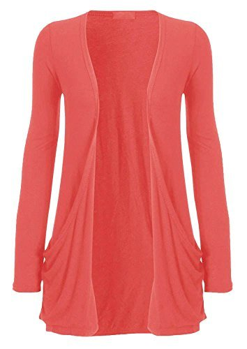 bout 26 for longues Uni manches ouvert haute NEUF Dames cardigan DIVA poches 8 Corail UK XAqdC4wxO