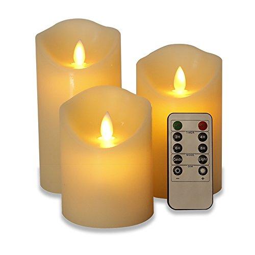 Horich揺らぐ炎 LED パーティーキャンドル リモート 3個セット