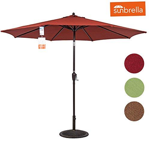 Sundale Outdoor 8.2 Ft Sunbrella Fabric Patio Garden Market Umbrella, Push Button Tilt and Crank (Terracotta) (Sunbrella Fabric Umbrellas Patio)
