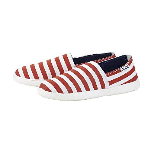 Dude Shoes Women's Capri E-Bands Stretch Red Stripe Slip On White & Red & Multi Colou