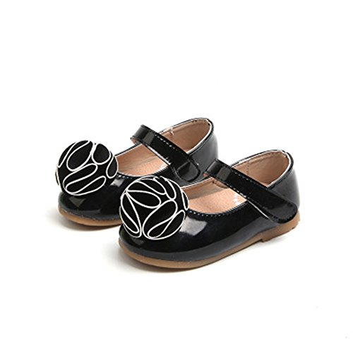 - Smart.A Girls Leather Look Ballet Flat Slip On Solid Color with Grosgrain Bow(Black 23/7 M US Toddler)