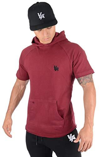 YoungLA Pullover Short Sleeve Hooded Sweatshirt Raw Edge Pockets 504 Burgundy XLarge