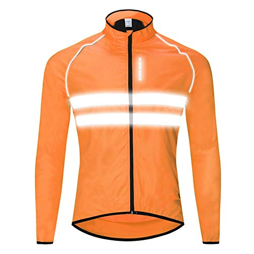(Men's Cycling Jacket, Long Sleeve Windproof Water-Resistant Coat Breathable Outdoor Sportswear Bike Bicycle Jacket with Reflective Tape for Safty Cycling - Orange)