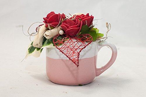Pequeñas Rosas Rojas En Una Taza Pequeña Arreglo Floral