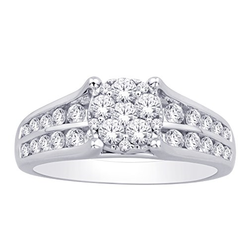 - Saris and Things 10K White Gold 1.32 Ct.tw. Diamond Flower Ring