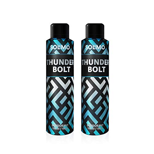 Amazon Brand – Solimo Gas Deodorant – Pack of 2 (ThunderBolt)