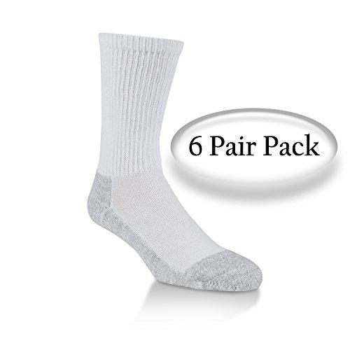Extra Cushion Socks - Power Cushioned Performance Crew Large 6 Pair Pack (White)