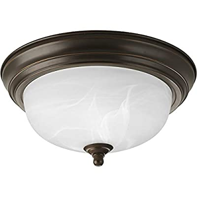 Progress Lighting P3924-20EB Traditional One Light Close-to-Ceiling CFL Collection Dark Finish, Antique Bronze