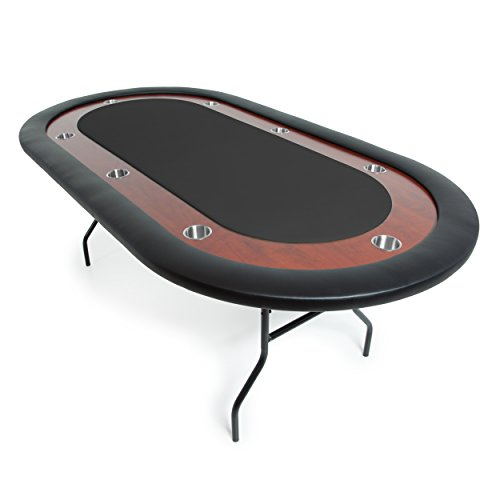 BBO Poker Ultimate Jr. Folding Poker Table for 8 Players with Black Felt Playing Surface, 82 x 44-Inch Oval by BBO Poker