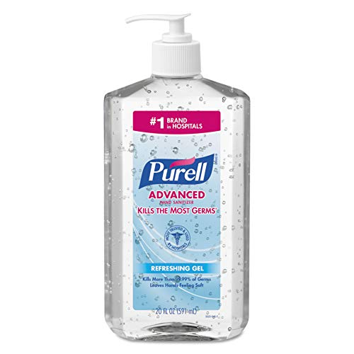 - PURELL Advanced Hand Sanitizer, Refreshing Gel, 20 fl oz Sanitizer Table Top Pump Bottles (Case of 12) - 3023-12