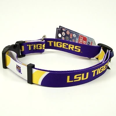 LSU TIGERS ADJUSTABLE DOG PET COLLAR SZ L