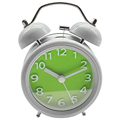 Innolife 3 Quiet Non-ticking Silent Quartz Analog Retro Vintage bedside Twin Bell Alarm Clock With Loud Alarm and Nightlight (3D Number Green)