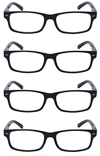 Outray Men Or Women 4 Pack Spring Hinges Frame Rectangular Reading Glasses 4 Pairs Black