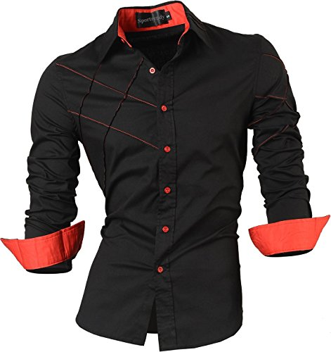 Sportrendy Men's Slim Fit Long Sleeve Casual Button Down Shi