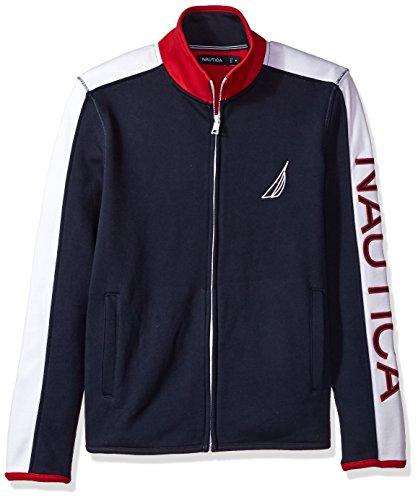 Nautica Men's Big Logo Zip Front Long Sleeve Mock Neck Sweatshirt, Navy, XX-Large by Nautica