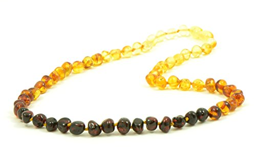 Amber Adult Necklace - Rainbow Color - Baltic Amber Land - Hand-made From Polished / Certified Baltic Amber Beads - Knotted - Screw Clasp (17.7, Rainbow)