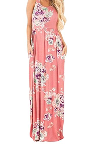With Maxi Printed Sleeveless Pockets Women Bohemian Dresses Pink Coolred YnHIY