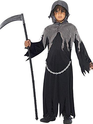 Angel Of Death Costume For Kids (Smiffy's Children's Grim Reaper Costume, Cloak & Hood, Ages 7-9, Colour: Black,)