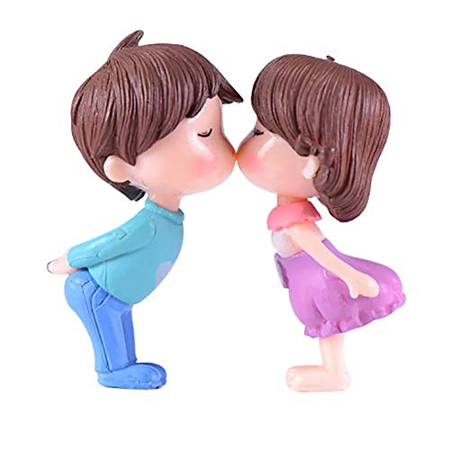 Adarl 2pcs Kiss Couple for Mini Plant Pots Decor Art Home Decor Landscape Ornament DIY Garden Gift Pink