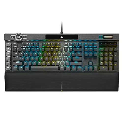 Corsair K100 RGB Mechanische Gaming-Tastatur - CHERRY MX SPEED RGB Silver KeySwitches - AXON HyperProcessing Technologie für 4x schnelleren Durchsatz - 44-Zonen RGB LightEdge - PBT Double-Shot Keycaps