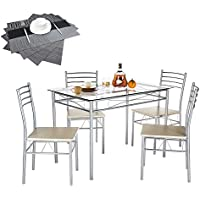 VECELO 5 Piece Dining Table Set with Chairs [4 Placemats...