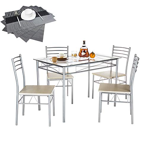 VECELO Dining Table with 4 Chairs [4 Placemats Included-] Silver 3 Piece Glass Desk