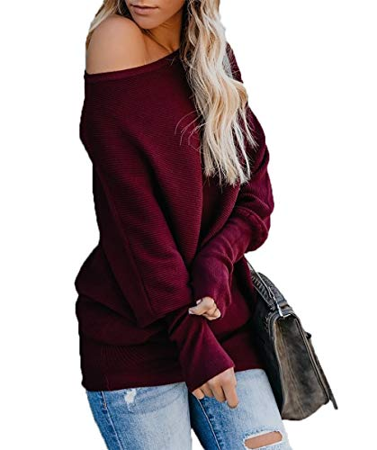 al Bat Wing Sleeve Knitted One Shoulder Loose Pullovers Sweater Jumper Sweatershirt Red ()