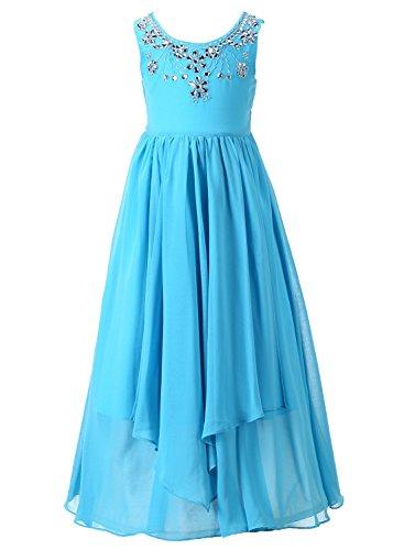 Happy Rose Chiffon Glitter Rhinestone Wedding Bridesmaid Dress Girl Dress