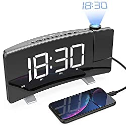 LightBiz Projection Alarm Clock, 7 Large LED Curved-Screen Projection Clock, FM Radio Alarm Clock, Dual Alarm Clock with 2 Alarm Sounds,12/24 Hour, White