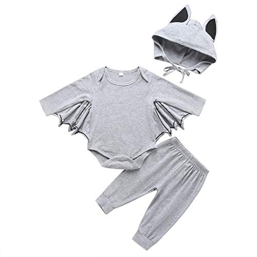 Crytech Cute Infant Toddler Bat Costume Cloak Romper with Hat Outfit, Soft Comfy Cotton Newborn Baby Boy Girl Halloween Long Sleeve Cosplay Clothes Jumpsuits for Children Kids (3-6 Months, Grey)