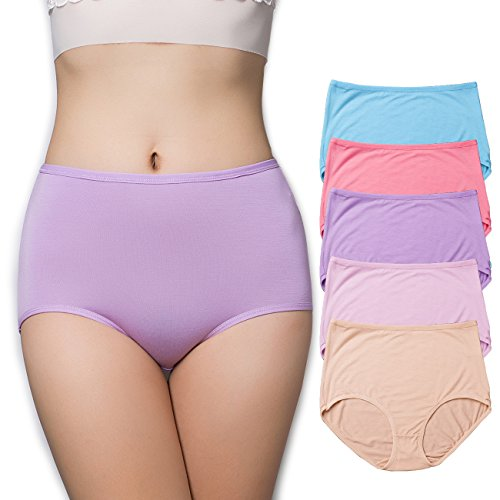 EIGGAM Women's Cotton Underwear, Soft Comfort and Breathable Briefs Solid Color High Waist Control Panties for Women 5 Pack (Multicoloured, Large)