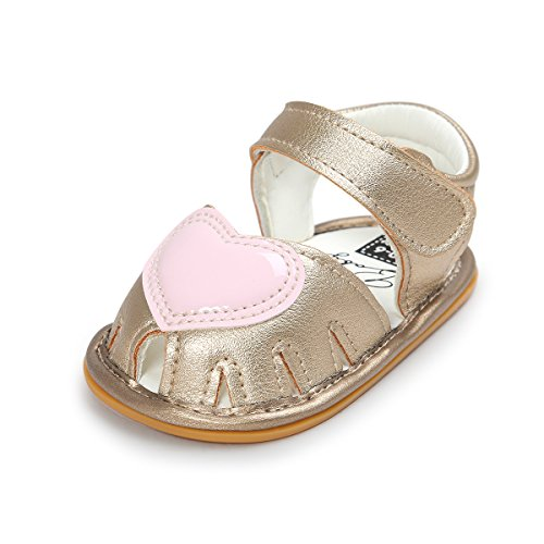 Meckior Baby Shoes - Summer Infant Baby Girls Sandals Non-slip Princess Shoes First Walkers (12cm(6-12months), Gold 6)