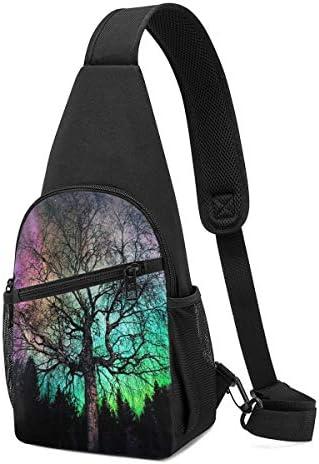 ボディ肩掛け 斜め掛け オーロラ森林 ショルダーバッグ ワンショルダーバッグ メンズ 軽量 大容量 多機能レジャーバックパック