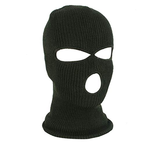 Vovomay Full Face Mask Ski Mask Winter Cap Balaclava Hood Army Tactical Mask 3 Hole (Green) -