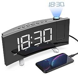 LightBiz Projection Alarm Clock, 7 Large LED Curved-Screen Projection Clock, FM Radio Alarm Clock, Dual Alarm Clock with 2 Alarm Sounds,12/24 Hour, White